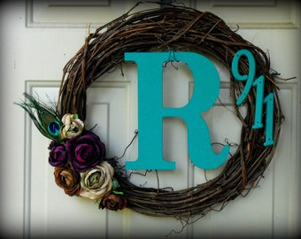 Monogrammed, Floral, Feather, Address Wreath