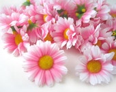 100 Pink with White Edge Gerbera Daisy Heads - Artificial Silk Flower - 1.75 inches - Wholesale Lot - for Wedding work, Make Hair clips