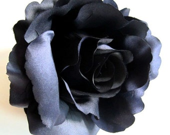 2X HUGE Black Roses Artificial Silk Flower Heads - 6 inches - Wholesale Lot - for Wedding Work, Make Hair clips, headbands, hats