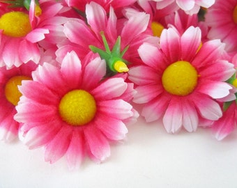 25 Red with White Edge Gerbera Daisy Heads - Artificial Silk Flower - 1.75 inches - Wholesale Lot - for Wedding work, Make Hair clips, hats