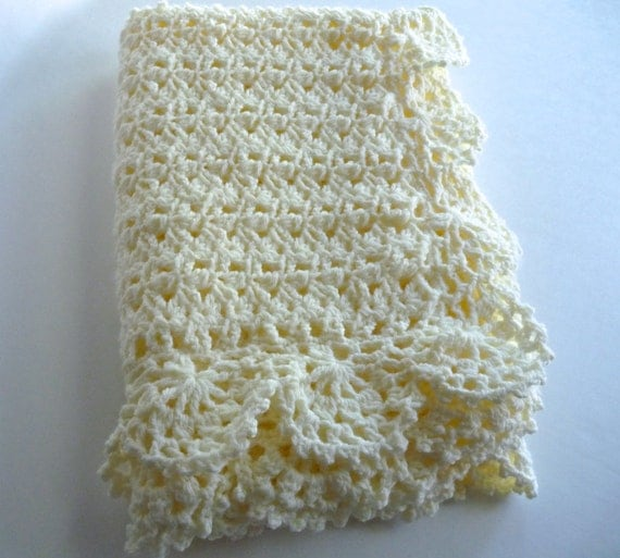 Crochet cream unisex baby blanket handmade crocheted in a lacy pattern with scalloped edging baby afghan