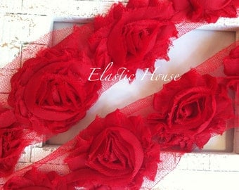 """2.5"""" Yard Shabby Rose Trim- Red Color- Red Shabby Rose Trim - Red Shabby Flowers - Hair Accessories and Craft Supplies"""