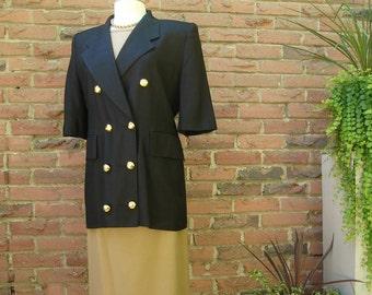 Black Linen Short Sleeve Jacket, Lipton's