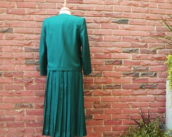 Forest Green Suit with Pleated Skirt,  London Fog