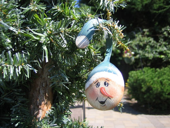 "3.5"" Snowman Painted Spoon Christmas Ornament"