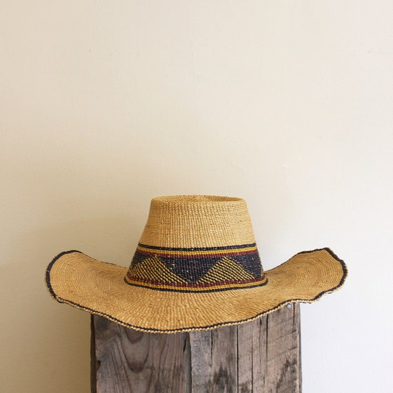 Vintage Straw Hat - Wide Rim with Blue Pattern