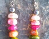 Raw Rainbow Keshi Pearl Earrings