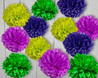 Tissue Paper Pom Poms Set of 12