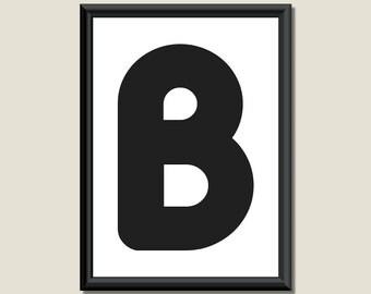 Typography Giclee Print Monogram Initial Wall Art Zarista Letter B