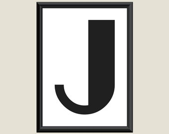 Typography Giclee Print Monogram Initial Wall Art Boogie Nights Letter J