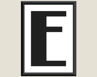 Typography DIGITAL PRINT Monogram Initial Wall Art Boogie Nights Letter E 5x7