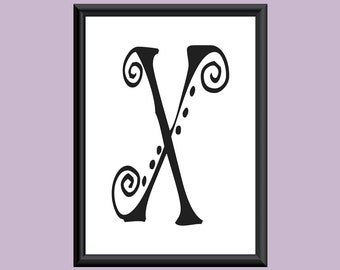 Typography Giclee Print Monogram Initial Wall Art SpaGirl Letter X