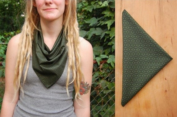 Forest Green Bandana Scarf - Dark Green Black Geometic Pattern Handkerchief Cotton Fabric - Fall, Autumn, Woodland