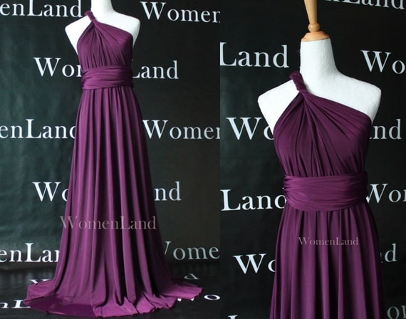 Infinity Dress Convertible Bridesmaid Dress Dark Purple Christmas Evening Party Floor Length Prom Dress Custom Made Plus Size Woman Dress