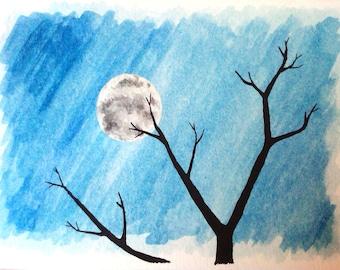 Full Moon Night Watercolor Card