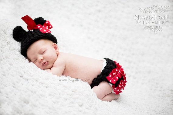 SALE/Newborn /Knit/ Minnie Mouse Hat/Diaper Cover/Photo Prop Black/Red