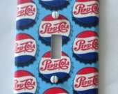 Retro Pepsi Cola Bottlecaps Light Switch Plate Single Handmade Cover