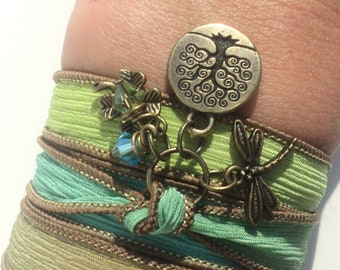 Tree of Life Dragonfly Silk Wrap Bracelet Yoga Jewelry Om Namaste Bohemian Jewelry Gift For Her Earthy Unique Gift Under 50 Item Z82