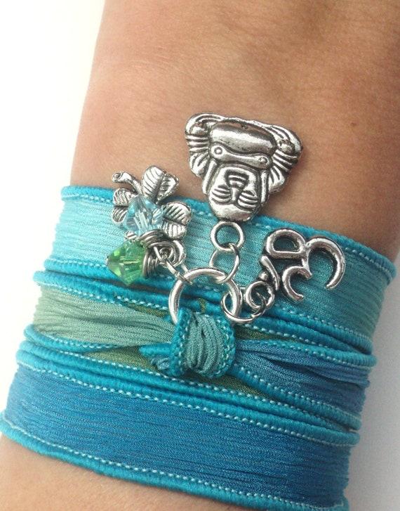 Buddha Silk Wrap Bracelet Meditation Jewelry Aqua Blue Green Zen Good Luck Om Yoga Namaste Anklet Necklace Unique Gift Under 50 Item S97