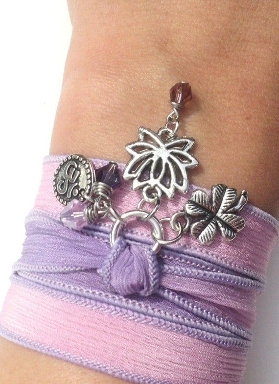 Lotus Silk Wrap Bracelet Om Jewelry Yoga Pink Purple Namaste Valentines Mothers Day Necklace Earthy Unique Gift For Her Under 50 Item Z55