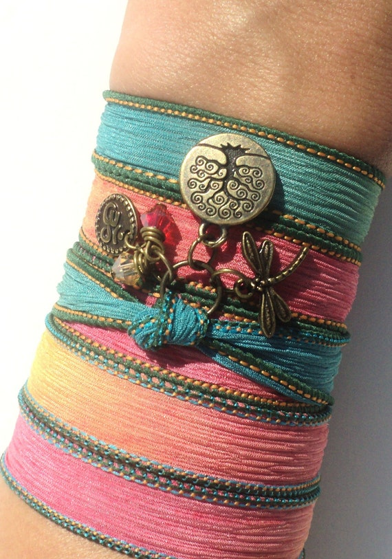 Bohemian Silk Wrap Bracelet Yoga Jewelry Tree of Life Dragonfly Om Namaste Colorfu Unique Gift For Her Stocking Stuffer Under 50 Item Z57