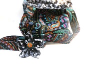 Large Paisley Dog Collar with Flower and Puppy Bag