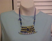 UCLA BRUINS inspired necklace dazzling blue yellow colors sparkling beads spinning letters handmade by Tween LOOK pretty please