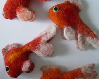 3 x Felt Goldfish - Handmade to Order.