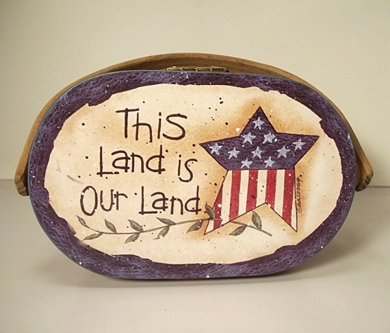 """Vintage Small """"This Land Is Our Land"""" Wicker Red and Blue Striped Basket"""