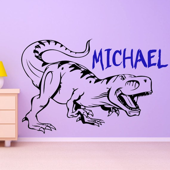 Dinosaur name wall decal vinyl sticker art custom by for Nice ideas dinosaur decals for walls