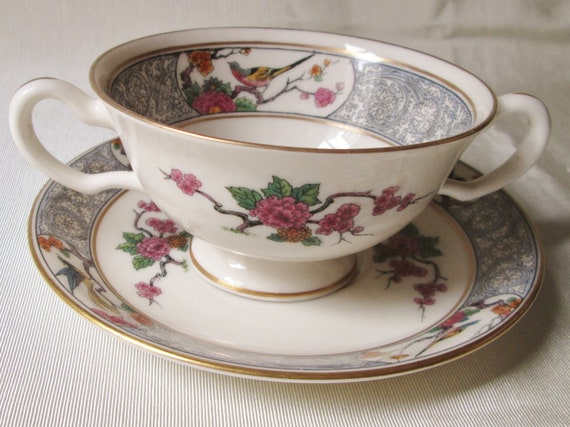 Lenox Wedding Gifts: 1940s Lenox Ming Pattern Cream Soup/Saucer. Housewarming