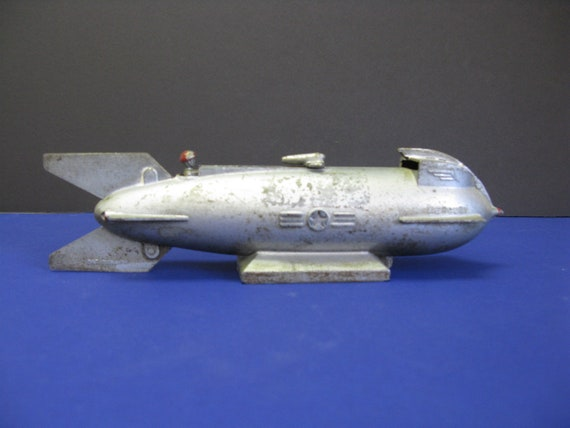 Vintage rocket bank - Rocket ship piggy bank ...