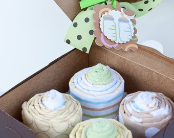 ON SALE -Gender Neutral Baby Shower Gift, Receiving Blanket Cupcakes