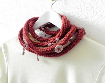 Red necklace scarf - Knitted red wine extra long fringe skinny infinity scarf rope necklace by PL wear