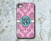 iPhone Cover, iPhone 4s, Custom iPhone case, Monogrammed iPhone, Samsung Galaxy i9100 cover, Samsung Galaxy Case, Damask, pink, blue  1094C
