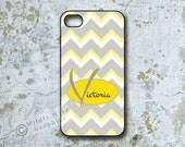 iPhone Case, Yellow and Gray Chevron, Designer Monogram, Personalized (6002)