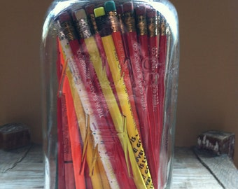 Vintage ATLAS MASON Jar Full of Vintage Unused Pencils with Advertising