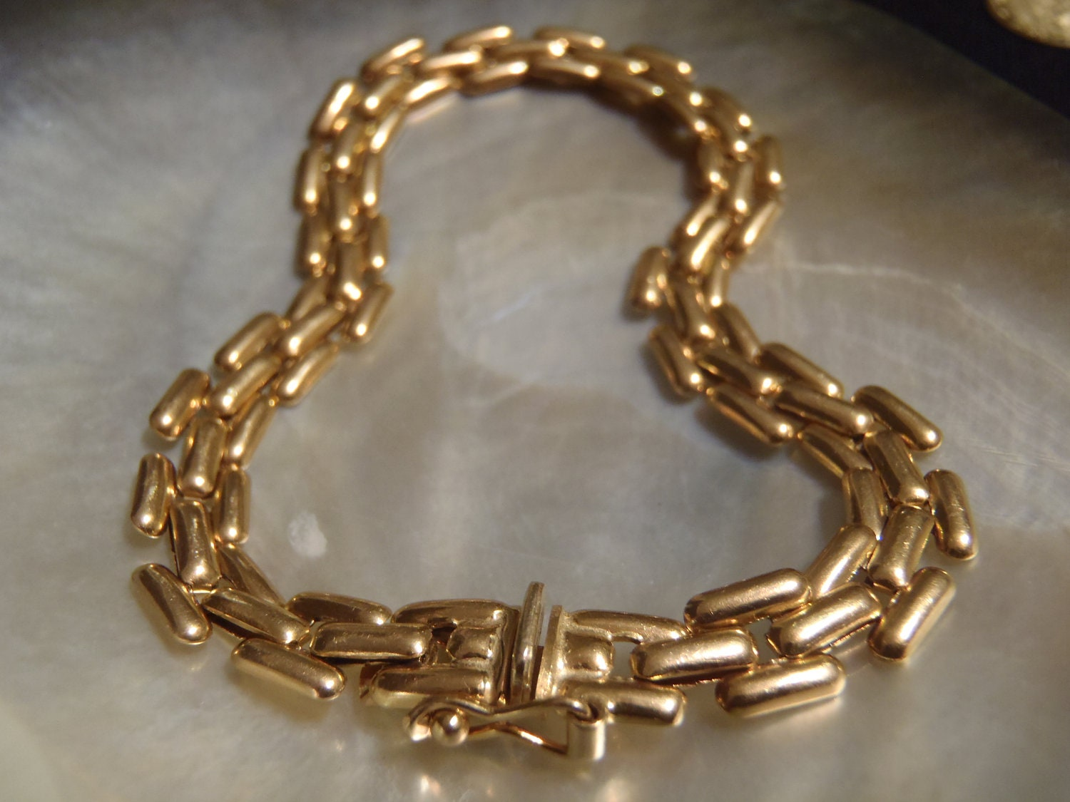 Italian 14k Solid Yellow Gold Panther Link Bracelet