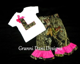 camo applique letter shirt mossy oak matching pants baby girl 0 3 6 9 12 18 24 months 2t 3t 4t 5t