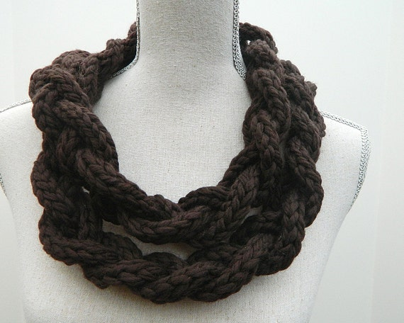 Knit Braided I-Cord Cowl Infinity Scarf Necklace in Van Dyke