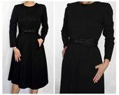 Vintage 1960 Leslie Fay black bow dress