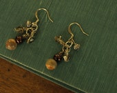 Semiprecious stone and crystal wire wrapped dangle earrings