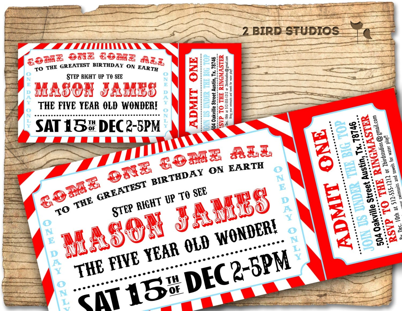 Circus invitation Vintage circus Birthday invite – Carnival Ticket Birthday Invitations