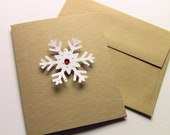 4 Snowflake Kraft Handmade Christmas Cards