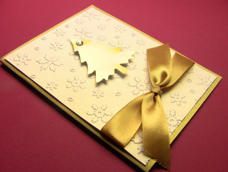 12 handmade 3 d christmas cards 5x7 golden christmas tree on for Elegant homemade christmas cards