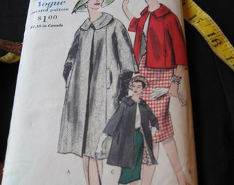 Vintage 1960s Vogue 5082 Pattern Misses Size 16 Coat Three Lengths Bust 36