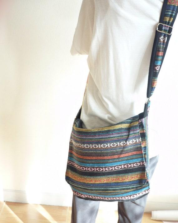 Cross Body Bag, Messenger Bag Hand Woven Fabric