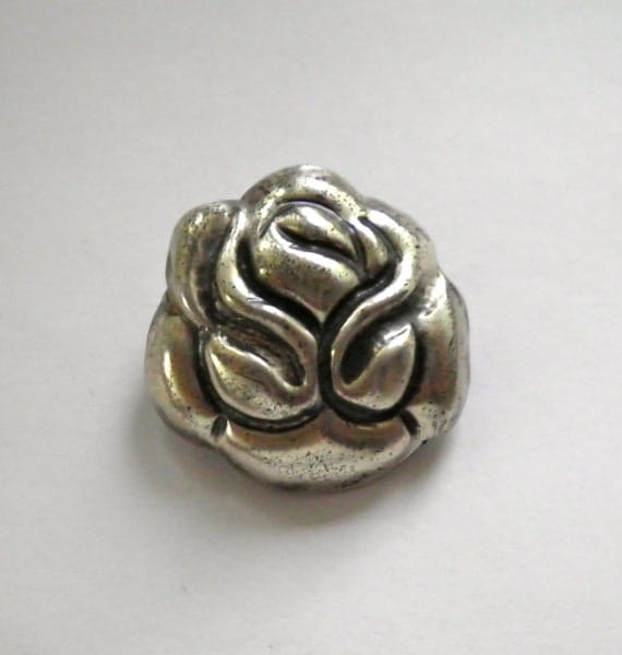 Sterling CORO MEXICO Vintage WWII 1940s Rose Brooch Pin