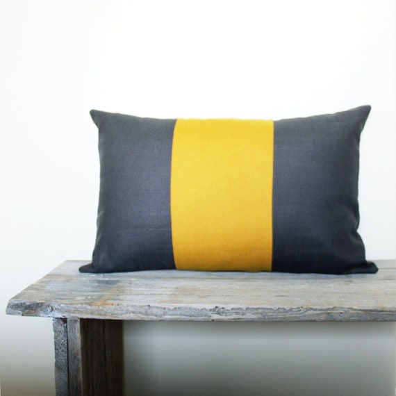 Grey and Mustard Yellow Pillow Cover - Dark grey and yellow throw pillow - 12x18 pillow cover