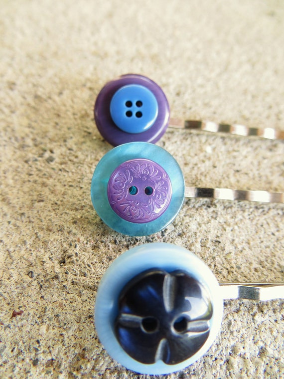 RESERVED A Sight to Sea - 3 Blue Button Bobby Pins